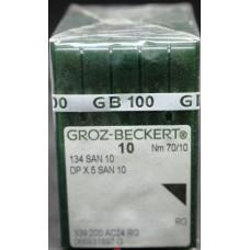 Игла Groz-Beckert 134 SAN 10 №75 с толстой колбой для деликатных тканей 10 шт/уп