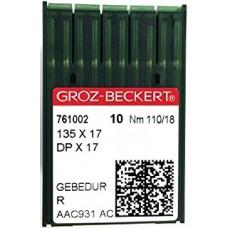 Игла Groz-Beckert 135x17, DPx17 GEBEDUR позолоченная для тяжелых машин 10 шт/уп