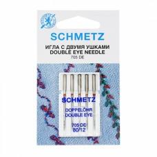 Игла Schmetz  DOUBLE EYE 705 DE VCS №80 с двумя ушками для декоративных работ