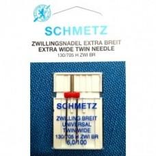 Игла Schmetz EXTRA WIDE TWIN NEEDLE 130/705 H ZWI BR SES  двойная универсальная  с  большим расстоянием между остриями