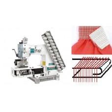 Siruba VC008-12064P/VWLC/FH Двенадцатиигольная машина цепного стежка с цилиндрической платформой, устройством подачи и растяжки резинки