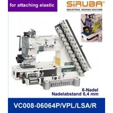 Siruba VС008-06060P/VPL/LSA/R  Шестиигольная лампасная машина цепного стежка с цилиндрической платформой